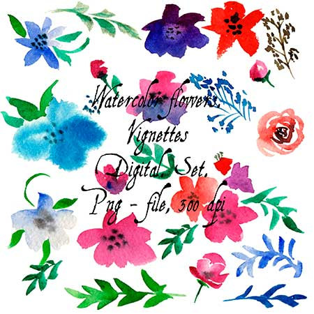 Decoration clipart art file Watercolor This flowers 21 2