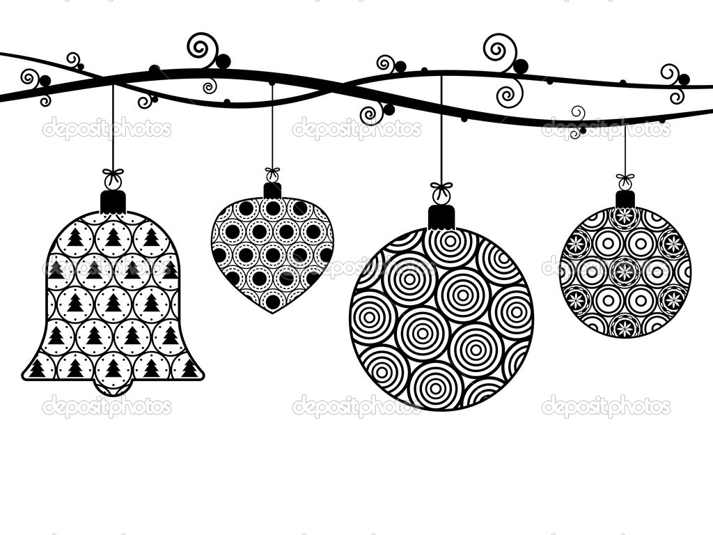 Decoration clipart black and white Christmas — white and clipart