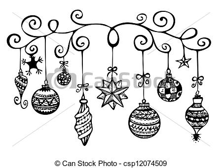 Decoration clipart black and white Clipart ornaments Ornaments Christmas Black