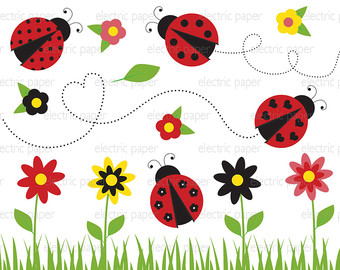 Decoration clipart cute flower Bug Lady Instant personal and