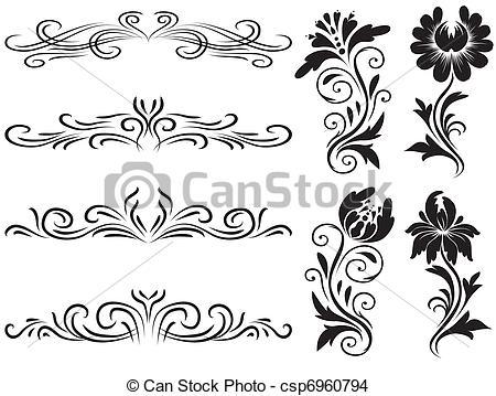 Decoration clipart horizontal Csp6960794 EPS elements floral decoration