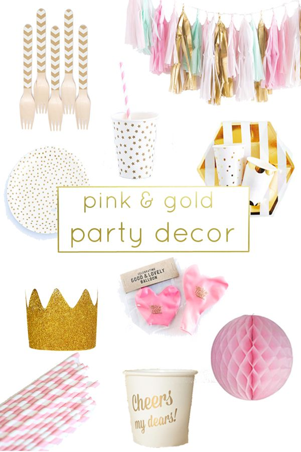 Decoration clipart pink party  birthday Decor Pink gold