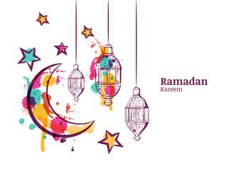 Decoration clipart ramadan Moon Traditional banner horizontal lanterns