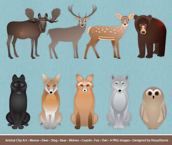 Wolf clipart deer Wolf Animals Digital Fox Wildlife
