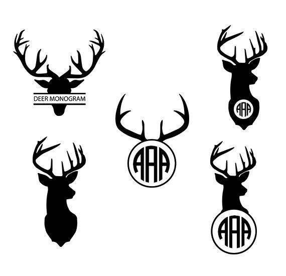 Antler clipart deer head Antler file deer head monogram