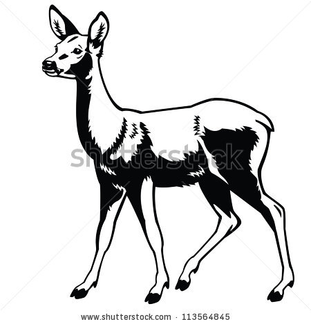 Dear clipart black and white Side Black Isolated Black Deer
