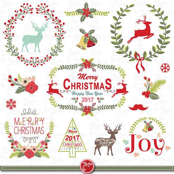 Wreath clipart retro christmas  CLIPART