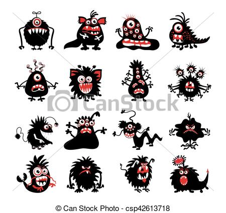Monster clipart demon  demon Bacteria Halloween silhouettes