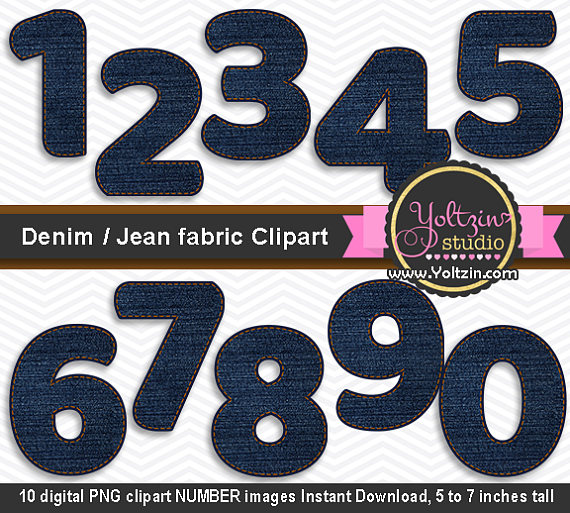 Denim clipart dark Number numbers DENIM / DENIM