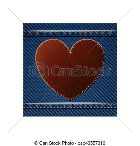Denim clipart heart Illustration  With design Vector