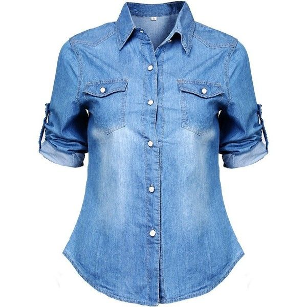 Denim clipart long sleeve shirt Denim Tops 25+ sleeve (M(US6