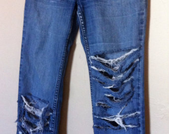 Denim clipart ripped jeans Jeans Ripped Denim Etsy bootcut