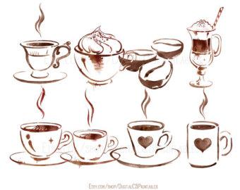 Coffee clipart coffee love Watercolor clip art coffee Coffee