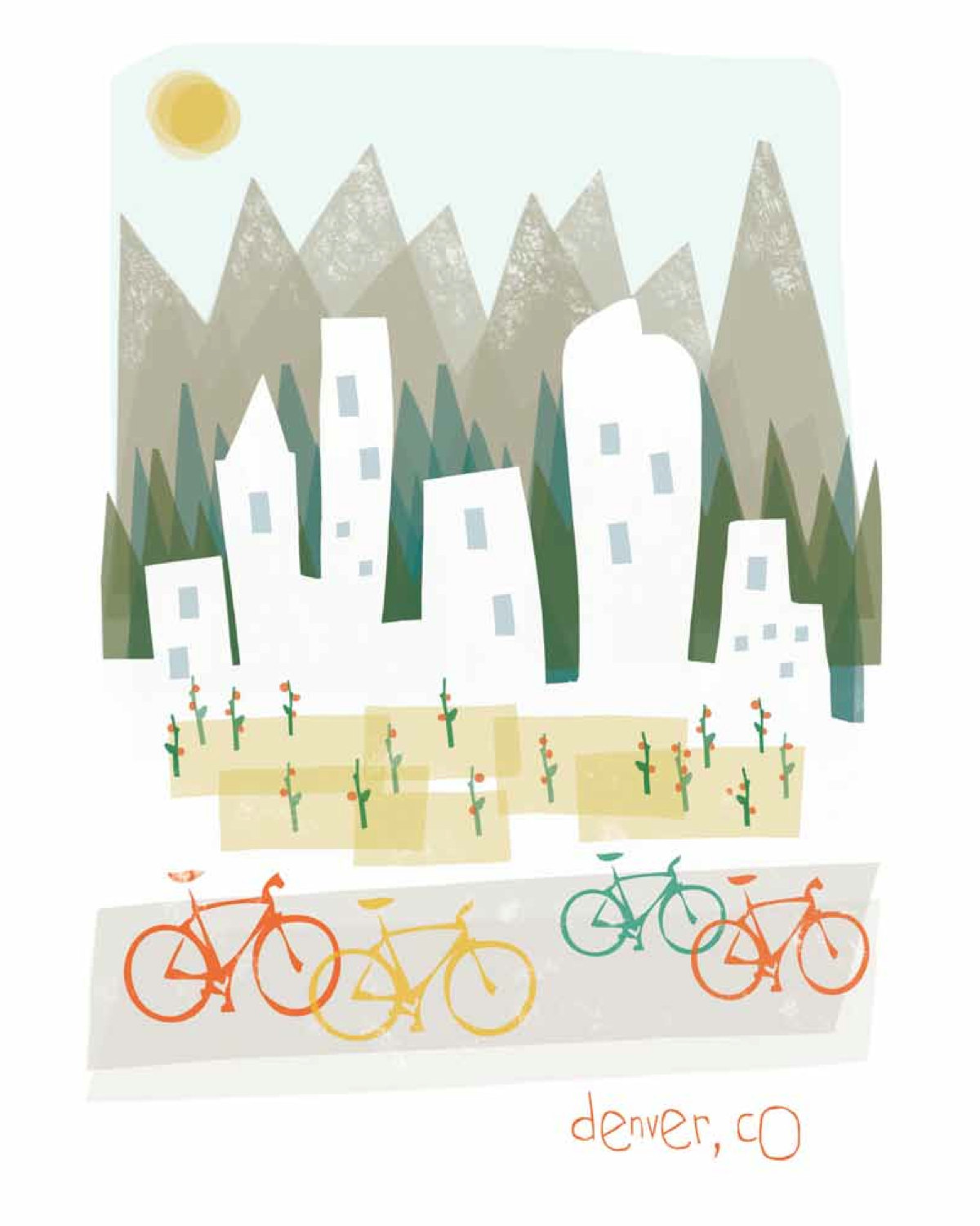 Denver clipart Mountain Clipart Illustration mountain Like this 8x10