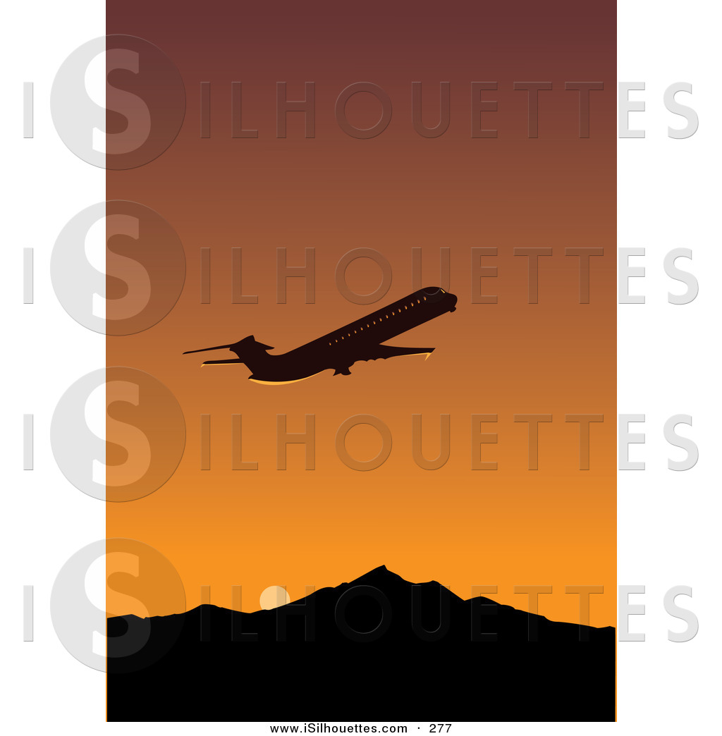Departure clipart airplain Silhouetted Flying Away Against Commercial