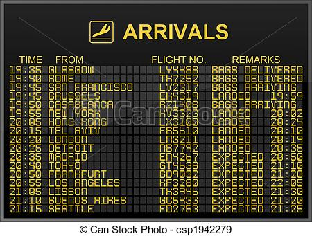 Departure clipart arrival Board Stock Board of csp1942279
