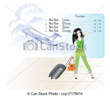 Departure clipart cartoon With luggage Vector in waiting