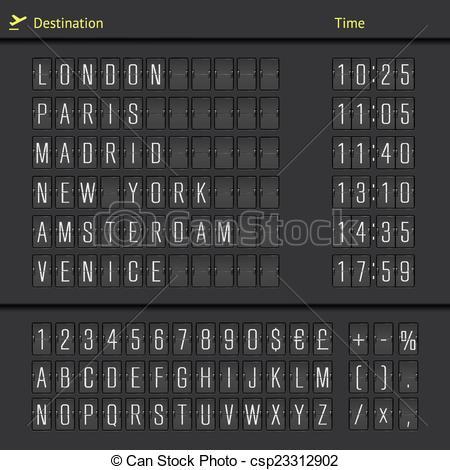 Departure clipart destination Analog arrival Airport departure scoreboard