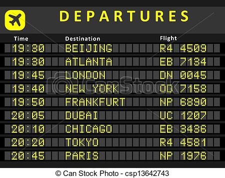 Departure clipart destination  Clipart board schedule Departure