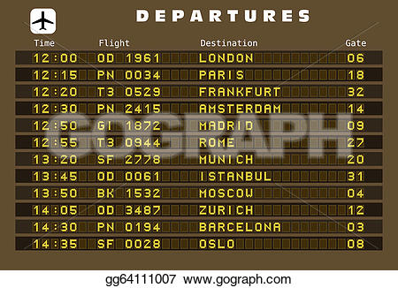 Departure clipart destination Paris Art amsterdam board Stock