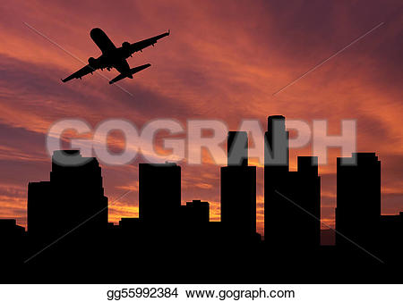 Departure clipart plane Sunset Drawing angeles los gg55992384