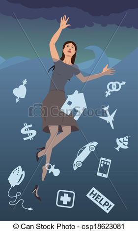 Depression clipart anxiety disorder Drowning of dressed Vector