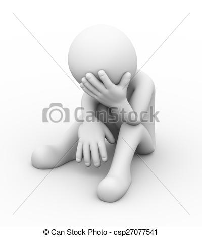 Depression clipart upset person Of of person depressed 3d