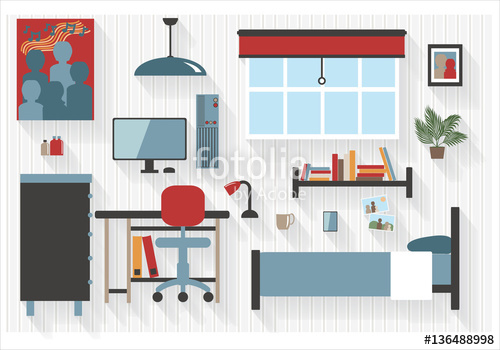 Desk clipart bedroom furniture Computer Flat Icons All All