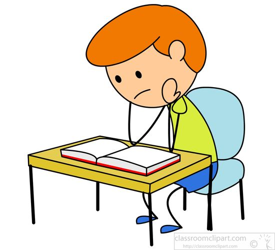 Desk clipart boy school Studying desk : at book