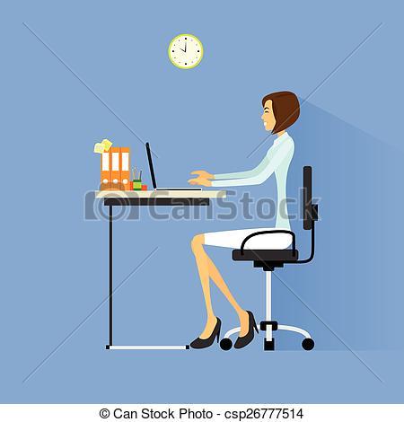 Desk clipart business person Woman desk sitting Clip desk