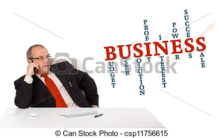Desk clipart business person With call with making desk