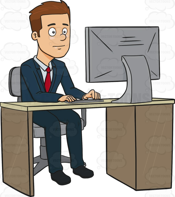 Desk clipart business person Clipart Computer Cartoon At Working