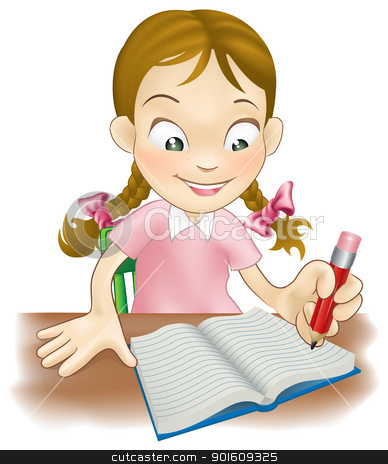 Desk clipart creative writing Book young a in girl