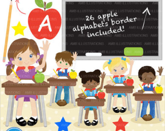 Desk clipart cute student School students clipart multi School