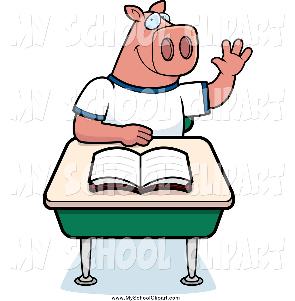 Desk clipart cute student Royalty thier Stock Illustrations Pig