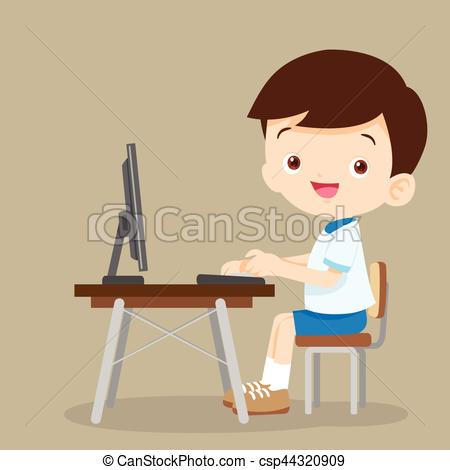Desk clipart cute student Vector  boy with cute
