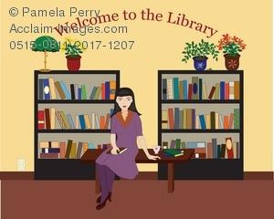 Desk clipart librarian Sitting Clip of Sitting Illustration