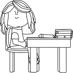Desk clipart little School Black and with and