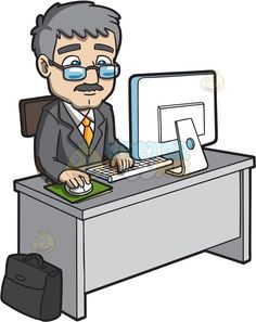 Desk clipart man at Gray computer and : businessman