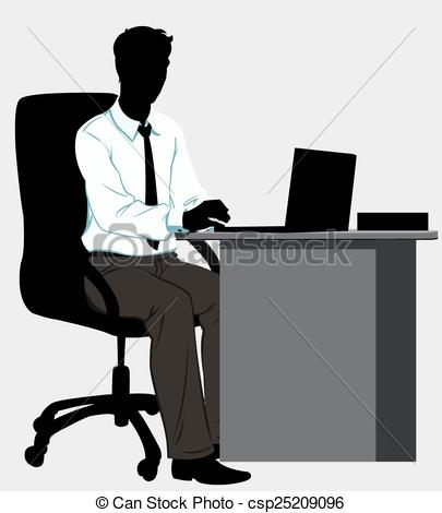 Desk clipart man at Silhouette Desk at with man