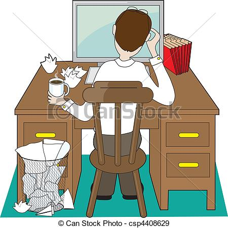 Desk clipart man at Desk view with of at