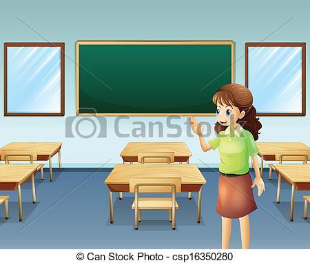 Desk clipart teacher room Of  A Vector empty