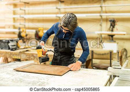 Desk clipart woodshop A woodshop Stock Stock Image