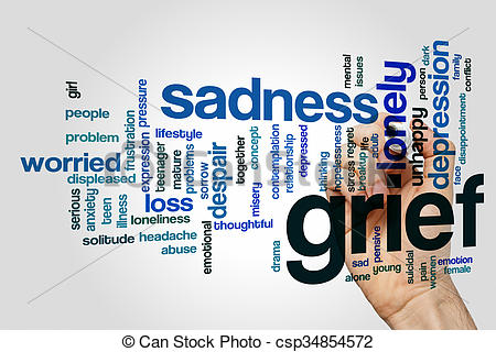 Grieve clipart emotional stress Illustrations of word sad cloud