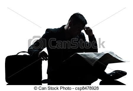 Despair clipart photography Man sitting newspaper length despair