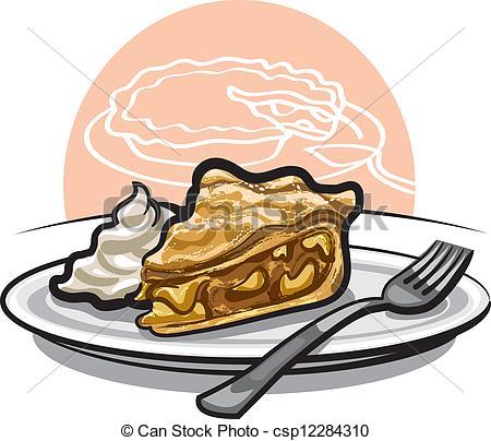 Drawn pie watercolor Art pie with piece
