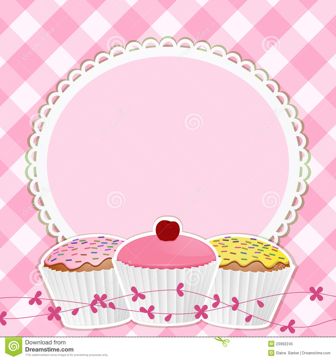 Vanilla Cupcake clipart border Pink Ice Pin pink Find