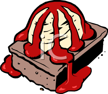 Brownie clipart cartoon With Strawberry Sauce And Brownie