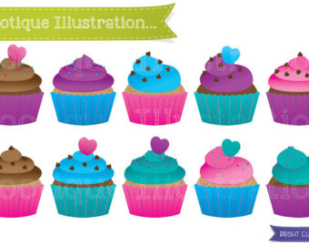 Muffin clipart colorful cupcake Clipart Bright Cakes Colorful Bright
