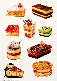 Drawn meal Cake Cartoon and @DeviantArt